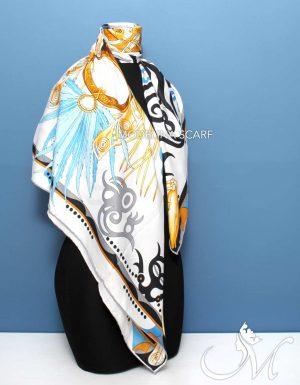 روسری ابریشم هرمس سفید