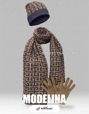 ست شال گردن،کلاه و دستکش اصل نسکافه ای