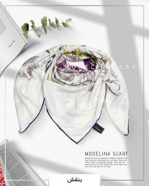 روسری ابریشم ژاکارد مدلینا 750 بنفش