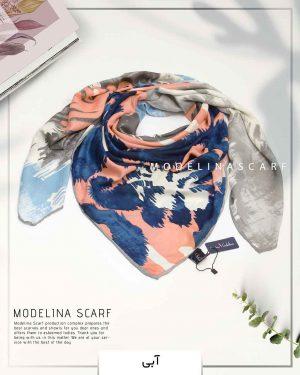روسری ابریشم ژاکارد مدلینا آبی