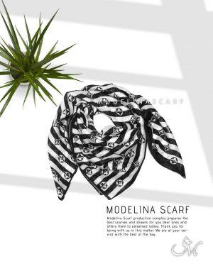 خرید روسری قواره کوچک ژاکارد ابریشم M14